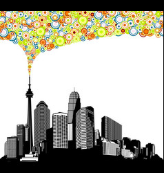 black and white panorama city with skyscrapers vector image
