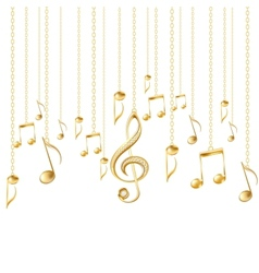 Card with musical notes and golden treble clef vector image vector image