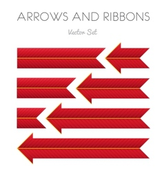 Red Striped Arrows and Ribbons vector image