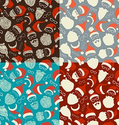 Set of seamless pattern of Santa hats beards and vector image