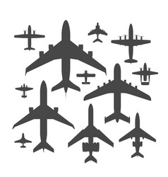 airplane silhouette top view vector image vector image