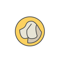 dog head in yellow circle icon vector image vector image