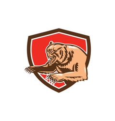 Grizzly Bear Angry Shield Retro vector image vector image