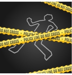 Police Line with a Chalk Outline of the Body vector image