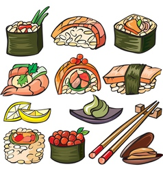 Sushi seafood icon set vector image
