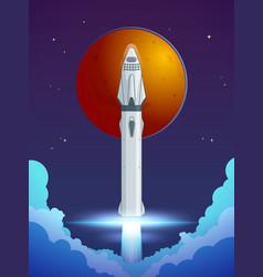 colorful cartoon rocket launch concept vector image vector image