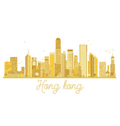 hong kong china city skyline golden silhouette vector image