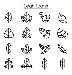 leaf icon set in thin line style vector image vector image