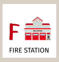 alphabet card with fire station building vector image vector image