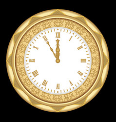 ancient clock of the yellow metal with ornaments vector image
