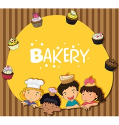 Bakery theme with children and cupcakes vector image vector image