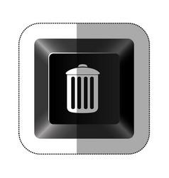 black button trash can icon vector image