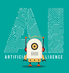 braniy modern robot with ai mechanism vector image vector image