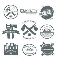 Carpentry label set vector