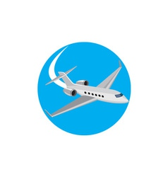 Commercial Light Passenger Airplane Circle Retro vector image vector image