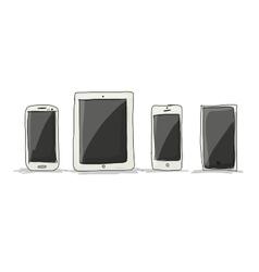 Smartphone set sketch for your design vector image