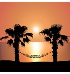 Sunset on the Beach on Hammock vector image vector image