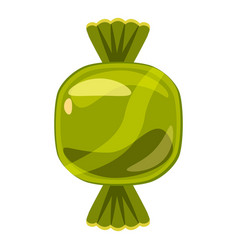 sweet candy in green wrap icon cartoon style vector image