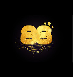 88 number icon design with golden star and glitter vector image