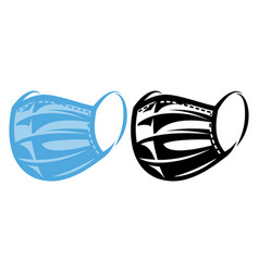 a set two medical masks color and monochrome vector image