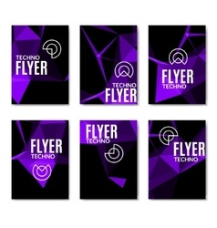 Abstract technology polygonal flyer set Modern vector image