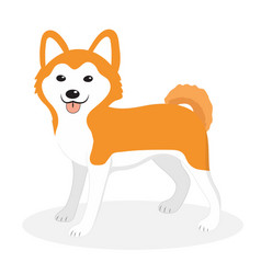 Akita inu breed dog icon flat cartoon style vector