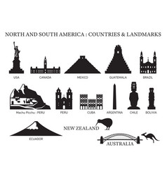 America continent and australia countries vector