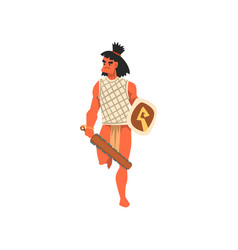 armed tribal male warrior tribe member in vector image