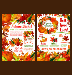 autumn harvest pumpkin fruit sale poster vector image