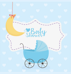 bashower blue pram and hanging moon decoration vector image