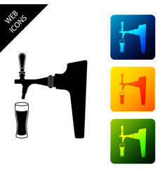 beer tap with glass icon isolated set icons vector image