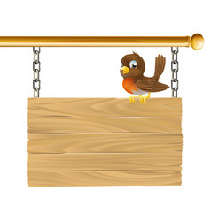 Bird hanging wooden sign vector