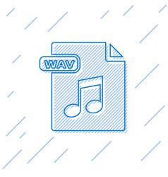Blue line wav file document download wav button vector