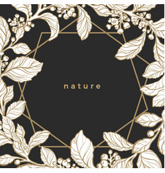 botanical nature invitation card floral template vector image