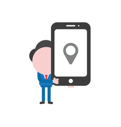 businessman character holding smartphone with map vector image
