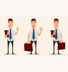 businessman office worker cartoon character set vector image