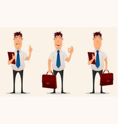 Businessman office worker cartoon character set vector