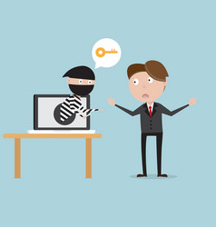 businessman with thief from laptop network vector image