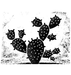cactus black silhouette vintage cactus on old vector image