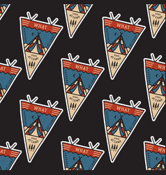 camping adventure pennants pattern mountain vector image