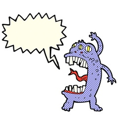 Cartoon crazy monster with speech bubble vector