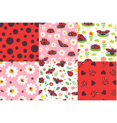 cartoon ladybug seamless pattern ladybird texture vector image