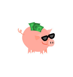 Cartoon piggy bank with happy face vector