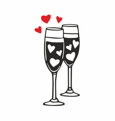 Champagne glasses with hearts vector