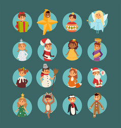 Christmas carnival costume kids vector