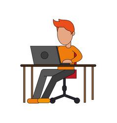 Color image cartoon faceless man sitting in desk vector