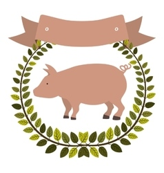 colorful olive crown and ribbon with pink pig vector image