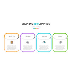 Concept shopping process with 4 successive vector