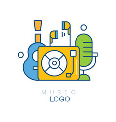 Creative logo template with vinyl record player vector