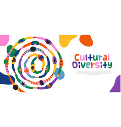 Cultural diversity people friend round template vector